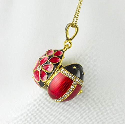 (Ladybug Locket Guardian Angel Charm Necklace Sterling Silver 24 K Gold Vermeil Black Red Enamel Jewelry for Women Flower Pendant with Crystals)