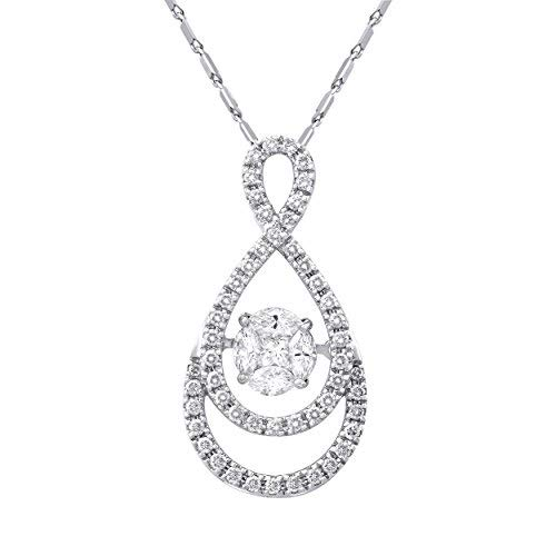 14k White Gold 3/4 Carat (ctw) Dancing Diamond Infinity Halo Necklace (H-I, SI2-I1), 16+18