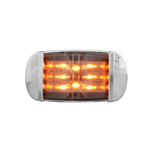 - Grand General 76255 Amber Rectangular Camel Back Wide Angle 14-LED Marker and Clearance Sealed Light with Clear Lens and Chrome Bezel