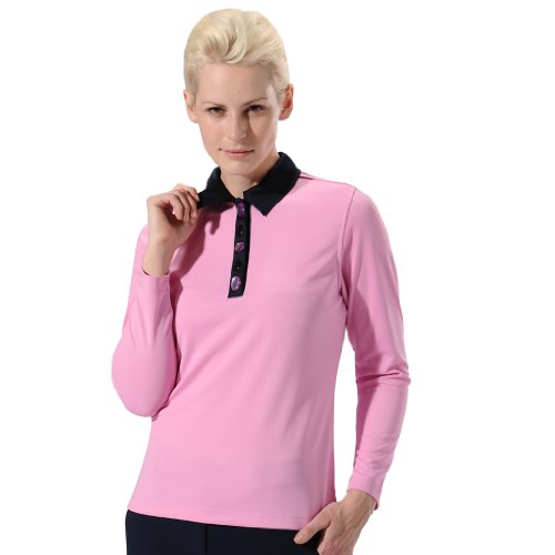 Monterey Club Ladies Dry Swing Gem Stone Detail Long Sleeve Shirt #2197 (Cotton Candy/Navy, Medium)