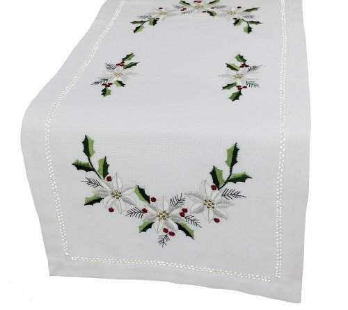 - Xia Home Fashions Country Poinsettia Embroidered Hemstitch Christmas Table Runner, 12-Inch by 28-Inch