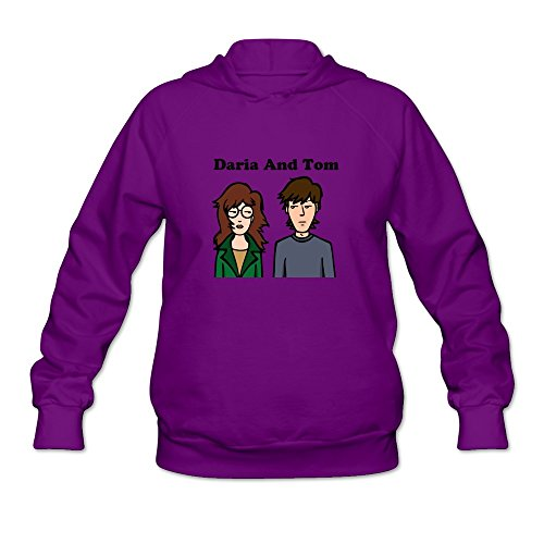 Daria And Tom Fun Roundneck Purple Long Sleeve Hoodie For Adult Size - Tom And Daria