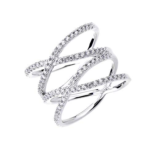 Cross Sterling Silver Wedding Bands - SOMEN TUNGSTEN Double X Criss Cross Ring Sterling Silver Rose Gold Pave CZ Wedding Band