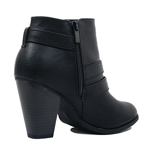Closed Chunky Bootie Heart Comfortable Heel Boots Toe Womens Ankle Guilty Block Pu Mid Blackv1 qXf8wq
