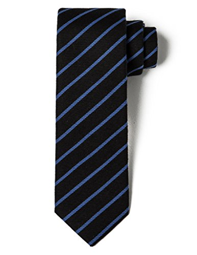 Black Diagonal Striped Tie - Origin Ties Men's Silk Skinny Tie Handmade Diagonal Reep Striped 2.25