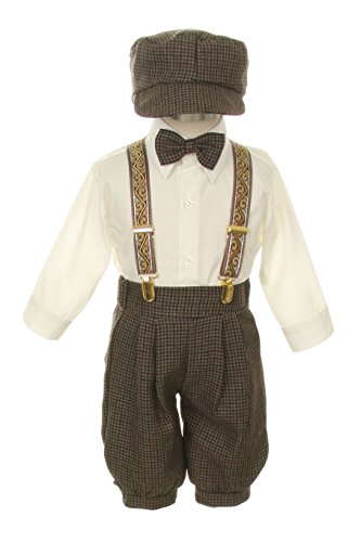 Vintage Dress Suit-Bowtie,Suspenders,Knickers Outfit Set for Boys-Toddler, Houndstooth-Beige/Ivory, 24 - Tie Hound