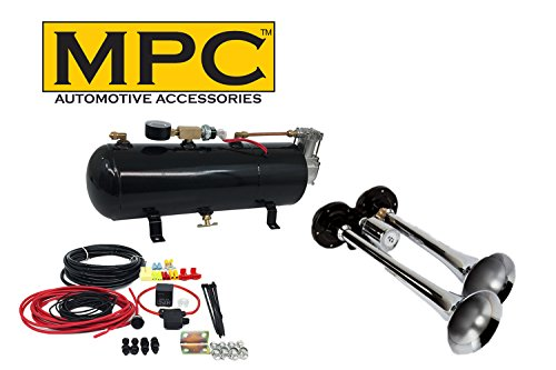 2 Trumpet Train Air Horn Kit - Fits Almost Any Vehicle: Truck, Car, Jeep or SUV. Includes Two Chrome Trumpets with All-in-One Air System: 110 PSI, 12-Volt Air Compressor, Tank, More. Complete Kit!