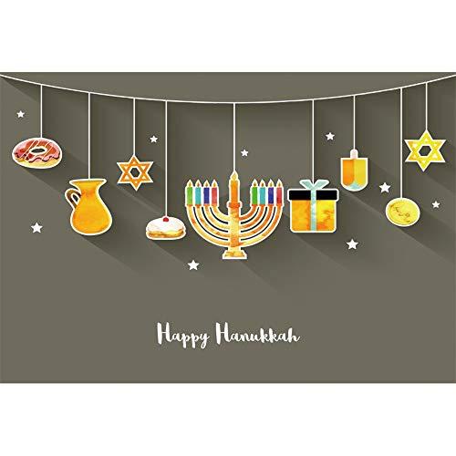 CSFOTO 6x4ft Happy Hanukkah Backdrop Jewish Chanukah Background for Photography Burning Candles Menorah Stars Gold Coins Wooden Dreidels Cake Jewish Traditional Festival Celebration Photos