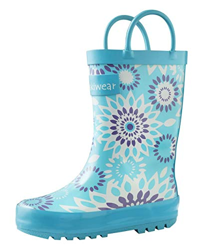 OAKI Kids Rubber Rain Boots with Easy-On Handles, Frozen Bursts, 8T US Toddler