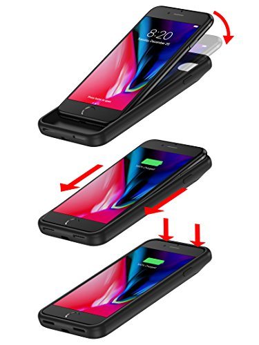 PowerBear iPhone 7 Battery circumstance iPhone 8 Battery circumstance 5000mAh favorite songs and Data transport excessive Capacity Rechargeable Charger Pack Up to 275 Extra Battery BLACK 24 Month warranty Cases