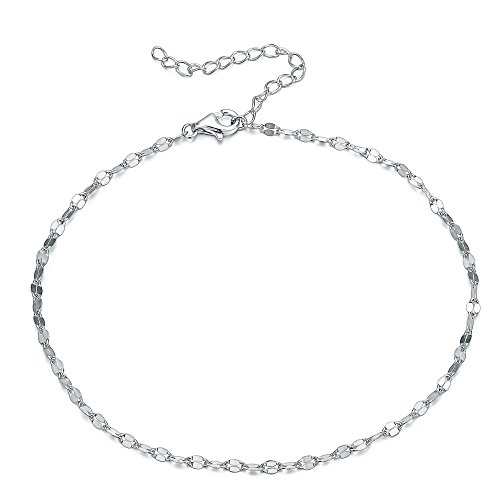 UK Sreema 1Mm Thick Solid Sterling Silver 925 Diamond Cut Style Chain With Spring Ring Clasp Anklet