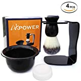 AKPOWER Shaving Set Acrylic Shaving Razor Stand Holder Shaving Soap Bowl Shaving Soap Shaving Frame Base Beard Cleaning Shelf Kit Shaving Brush Stand Tools for Men 4IN1