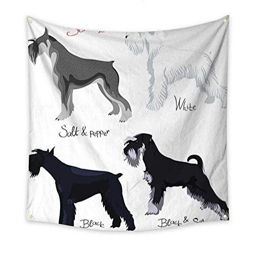 Anniutwo Flower Tapestry Vector Set of Purebred Dogs Schnauzer Beach Throw Tapestry 32W x 32L Inch