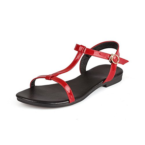 Toe MJS02568 Peep Buckle Solid 1TO9 Red Shoes Flats Womens Pleather wqUI8BA