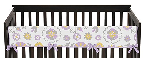 Sweet Jojo Designs Lavender and White Floral Suzanna Long Front Rail Guard Baby Teething Cover Crib Protector Wrap