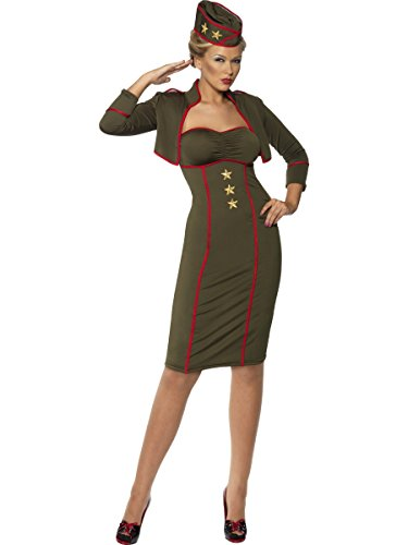 Smiffy's Sexy Army Pin Up Girl Outfit Adult Halloween Costume L Olive -