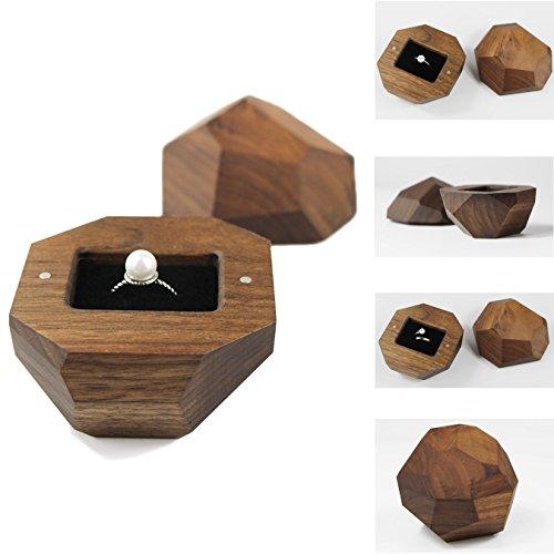 UOOOM Wooden Ring Box with Black Velvet Lining Engagement Ring Case -
