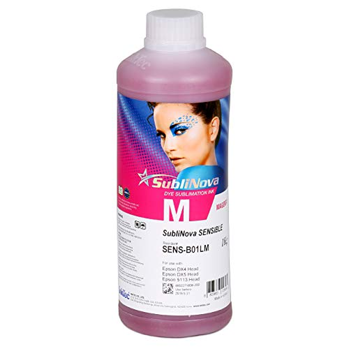 1 X 1000ml Professional Sublimation Ink Refills, Magenta, Made in Korea for Inkjet Printers with Epson DX4 DX5 5113 Head - Heat Press Transfer on Mugs, Plates, Polyester Shirts ()