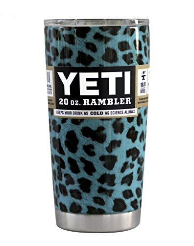 Custom YETI Coolers Powder Coated or Hydro Dipped Insulated Stainless Steel 20 Ounce (20 oz) (20oz) Rambler Tumbler Travel Cup Mug with Lid and Bottle Opener Keychain (Teal Leopard)