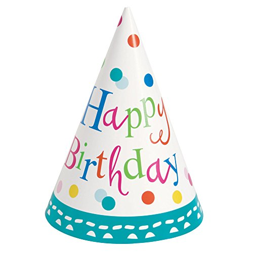 Confetti Cake Birthday Party Hats, 8ct -