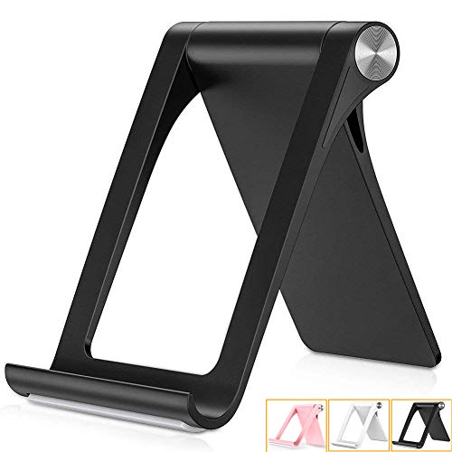 Alimu Cell Phone Stand Holder Desk Dock Compatible Phone X 8 7 6 Plus XS XR Max 6S 5,Pad Mini Pro Air, Samsung Galaxy S10 S9 S8 S7 Edge Plus S6, Smartphone Holder for Desktop Adjustable Foldable