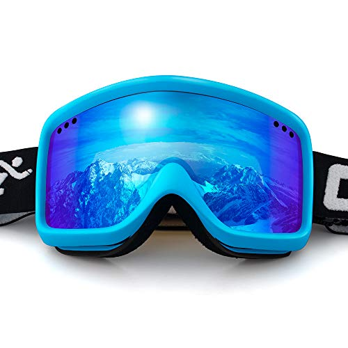 (COPOZZ Kids Ski Goggles, G3 Kids Snow Snowboard Goggles - Helmet Compatible Over Glasses OTG Design Non-Slip Strap UV Protection for Children Youth Boys Girls (G6-Blue Frame Blue Lens- VLT 18.5%))