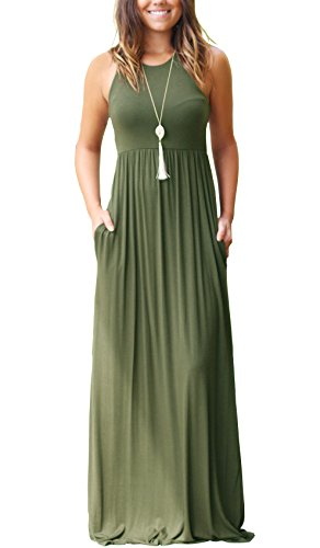 GRECERELLE Women's Sleeveless Long Maxi Dresses Plus Size with Side Pocket Army Green-S
