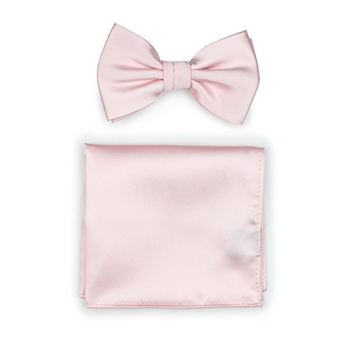 Bows-N-Ties Men's Solid Adjustable Pre-Tied Bow Tie and Pocket Square Set (Blush)