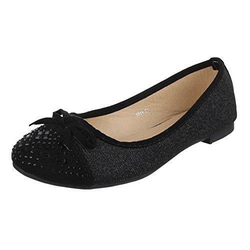 Damen Schuhe, 5019, Ballerinas Pumps mit Strass DEKO Schwarz