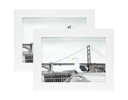 Frametory, Set of two 5x7 White Picture Frame - Made to Display Pictures 5x7 Photo with Ivory Color Mat - Wide Molding - Preinstalled Wall Mounting Hardware by Frametory