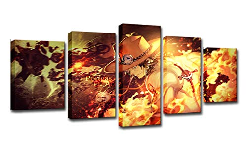 WINSEN Canvas HD Prints Paintings Modern Wall Art Anime Poster 5 Panel One Piece Ace Pictures Living Room Home Dcor