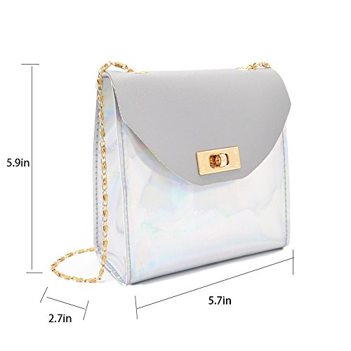 Grey Crossbody Purse Bag Mini Holographic Chain Anlydia Shiny Phone C7qa8Cgx