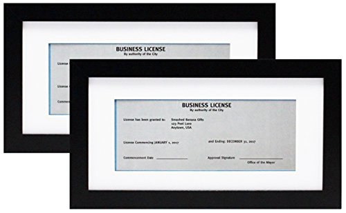 5x10 Black Gallery Business License Frame with 3.5x8 Mat - Two Frames - Wide Molding - Includes Attached Hanging Hardware and Desktop Easel - Display Panoramic Picture or Retail Licenses ()