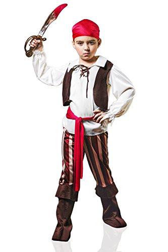 Dress Captain Scarlet Fancy Costume (Kids Boys Captain Pirate Halloween Costume Seas Buccaneer Dress Up & Role Play (6-8 years,)