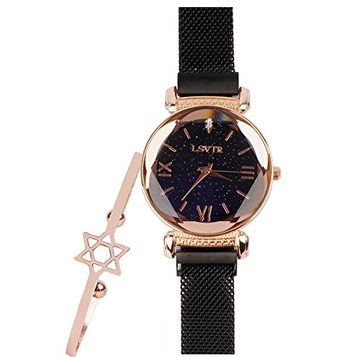 Starry Sky Quartz Watch Black Mesh Steel Magnetic Women Crystal Bracelet Set Wrist Watch
