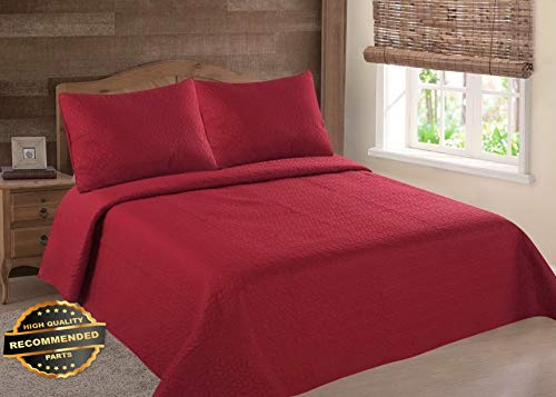(Werrox Midwest RED Solid Quilt Bedding Bedspread Coverlet Pillow Cases Set Queen Size | Quilt Style QLTR-291267252)