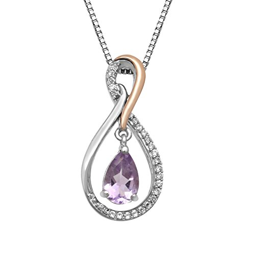 Gold Pink Amethyst Pendant - Jewelili Sterling Silver with 10K Pink Gold Accent Pear Amethyst with Created White Sapphire Drop Pendant Necklace 18