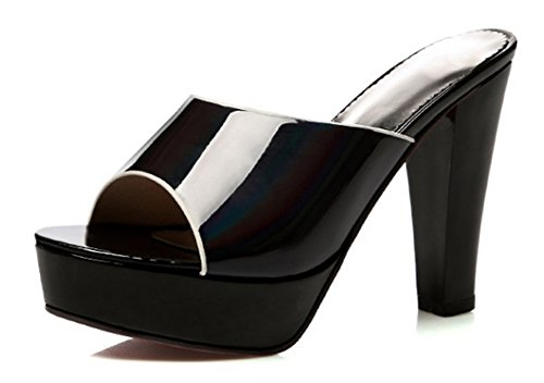 Easemax Donna Casual Dolce Peep Toe Slip On Hollow Out Tacco Alto Sandali Con Zeppa Muli Platform Scarpe Nere