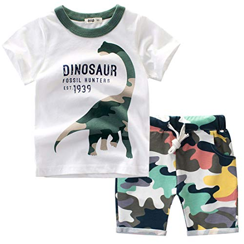 Frogwill Toddler Boys Dinosaur Camouflage Tee and Shorts