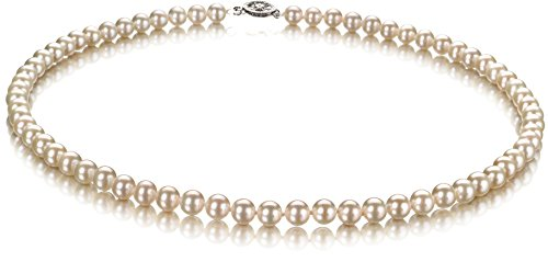 Gold Genuine Cultured Pearl (PearlsOnly - White 5.5-6mm Freshwater 10K White Gold Cultured Pearl Necklace-18 in length)