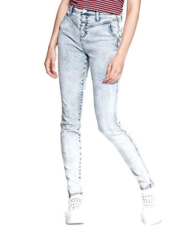 Wild Fable Women's High Rise Waist Button Fly Acid Wash Blue Jeans (2, Acid Wash) (Acid Wash High Waist Jeans)