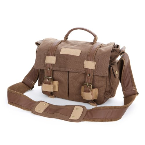 THG Waterproof Coffee High Density Pure Canvas Vintage SLR DSLR Camera Messenger Shoulder Case Bag Handbag For f. Nikon Sony Canon Pentax Olympus