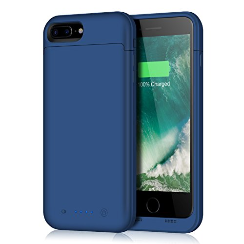 Fang Battery Pack Charger Case, Extended Portable Battery Charging Case For iPhone 7 Plus,8 Plus, 7000 mAh -Blue