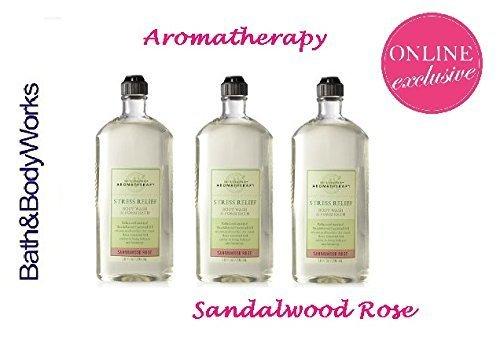 Lot of 3 Bath & Body Works Aromatherapy Sandalwood Rose Stress Relief Body Wash & Foam Bath (Sandalwood Rose)