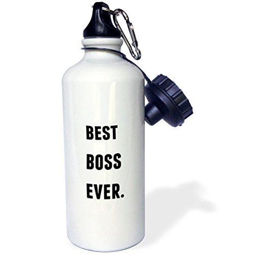 3dRose Best Boss Ever, Black Letters On A White Background-Sports Water Bottle, 21oz (wb_213367_1), 21 oz, Multicolor