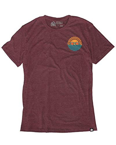 INTO THE AM Wavy Men's Heathered Graphic Tee Shirt (Maroon, 2X-Large) ()