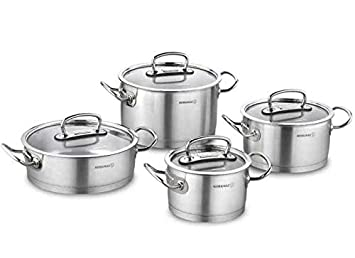 Korkmaz Proline A1147 - Batería de cocina de 8 piezas (olla, olla, cacerola, sartén, acero inoxidable): Amazon.es: Hogar