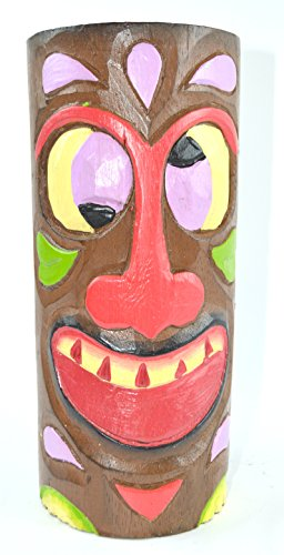 HAND CARVED BEAUTIFUL GOOGLE EYE FUNNY TIKI TOTEM POLE STATUE 12in