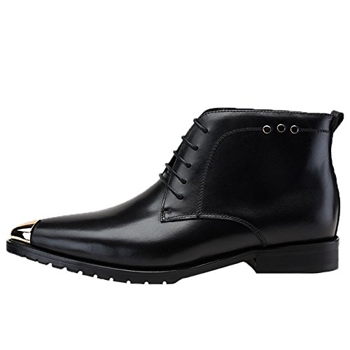Santimon Boots Men's Dress Derby Shoes Toed up Steel Leather Ankle Black Lace rnfrwxq