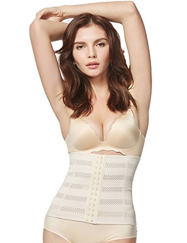 Pelisy Breathable Waist Trainer Corset for Women Weight Loss Beige Large Eye Corset